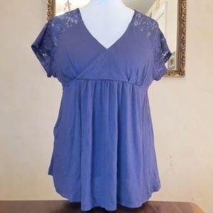 Daisy Fuentes Purple Empress Lace Sleeve Blouse XL